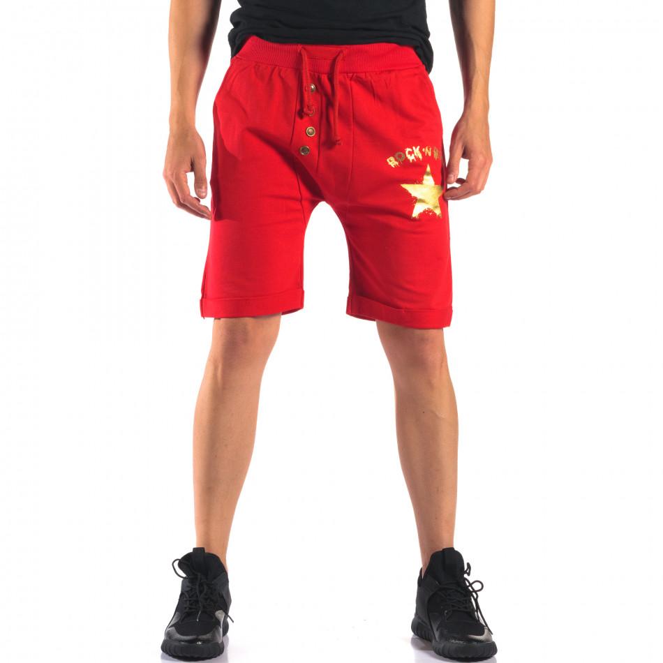 Мъжки червени шорти със златна звезда it160616-14