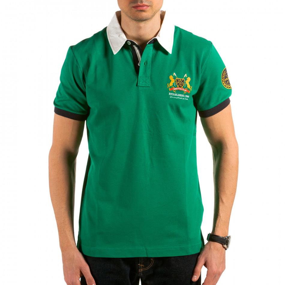Мъжка зелена тениска с бяла яка il180215-120