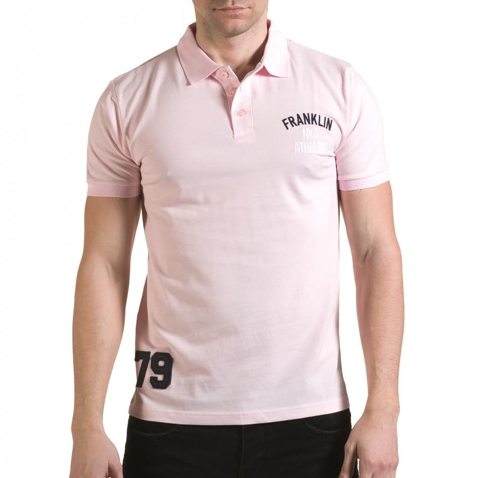 Мъжка розова тениска с яка с надпис Franklin NYC Athletic il170216-36