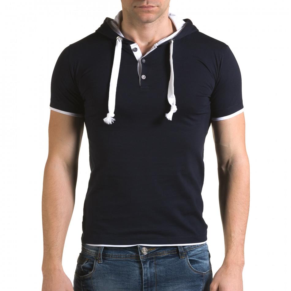 Мъжка синя тениска с качулка il120216-59