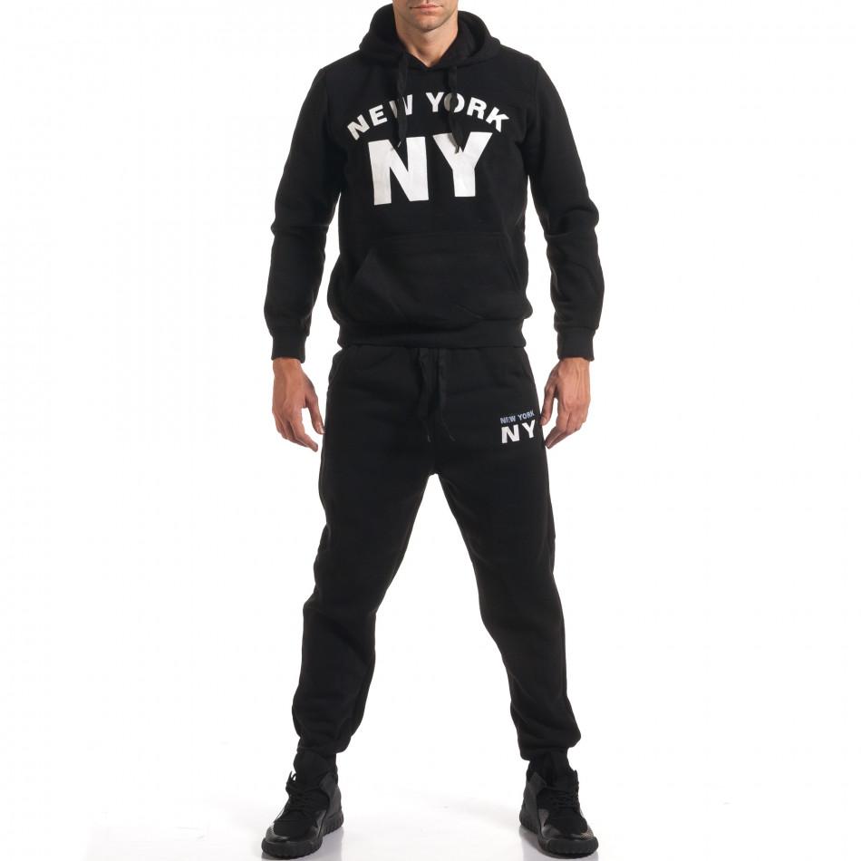 Мъжки черен спортен комплект с надпис it160916-57