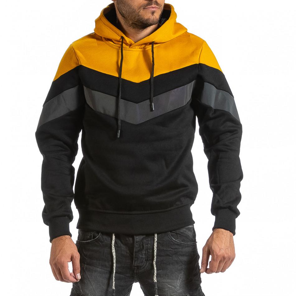 Мъжки черен суичър с контрастни детайли gr070921-47