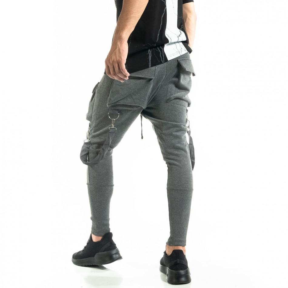 Трикотажен сив панталон Hip Hop Jogger tr020920-2