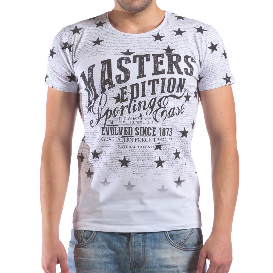 Мъжка бяла тениска със звезди и надписи il210616-15