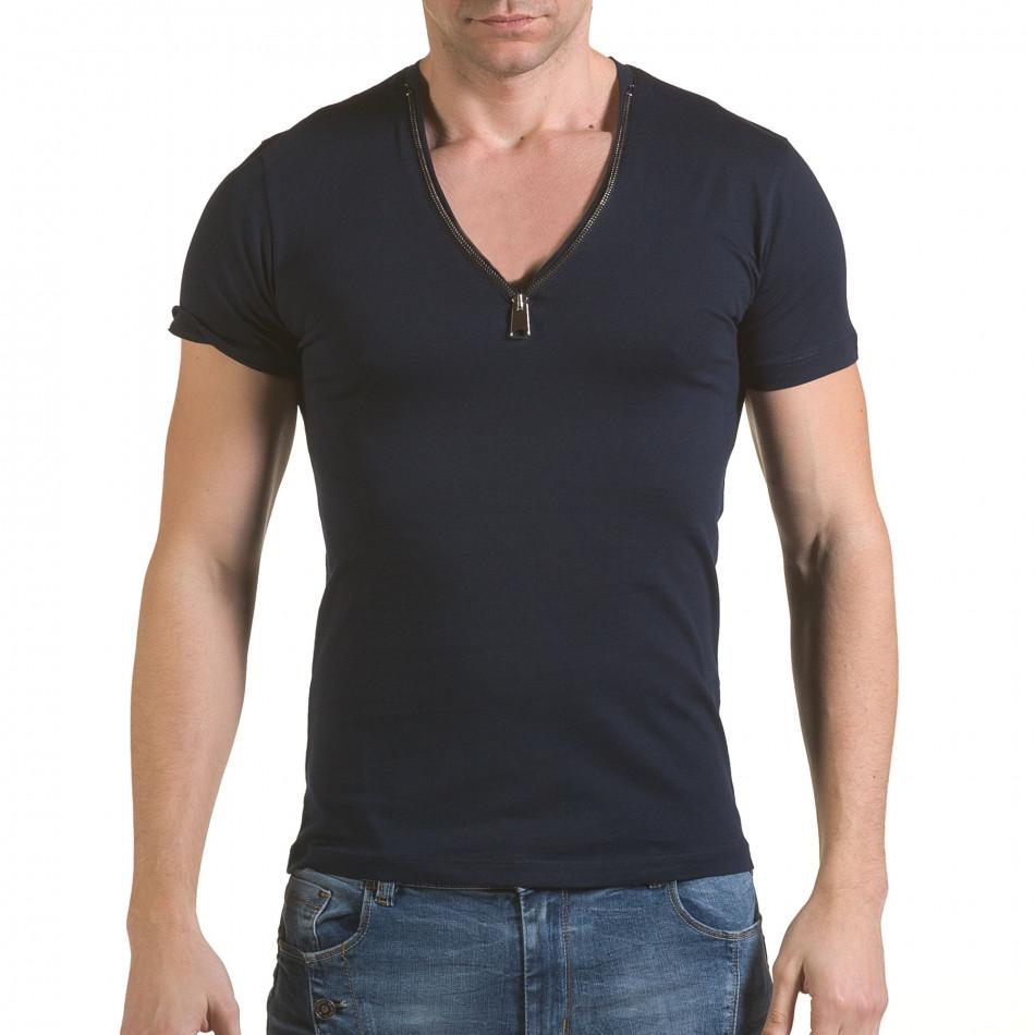 Мъжка синя тениска с цип на деколтето il170216-66