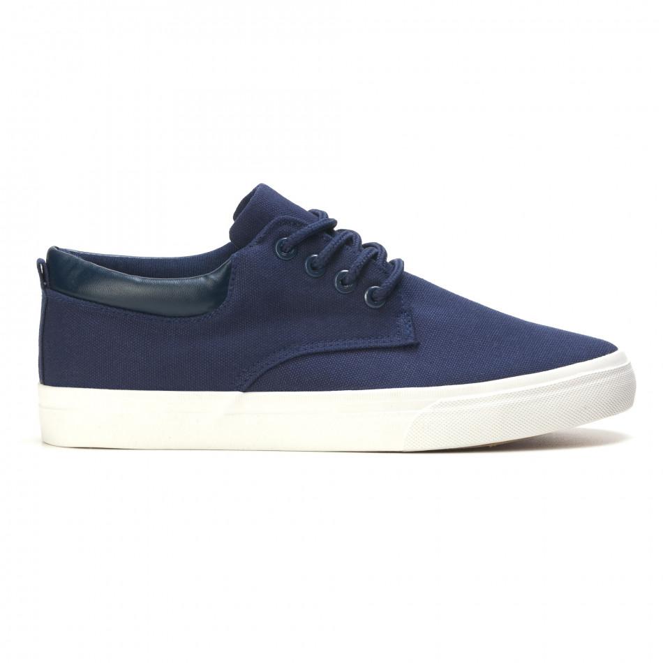 Мъжки спортни обувки тип кецове в синьо с бяла подметка it270416-5
