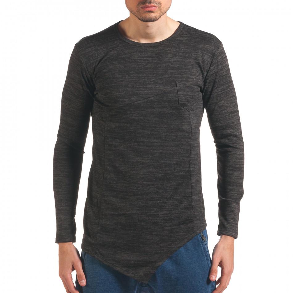 Сива мъжка блуза удължен модел it250416-82