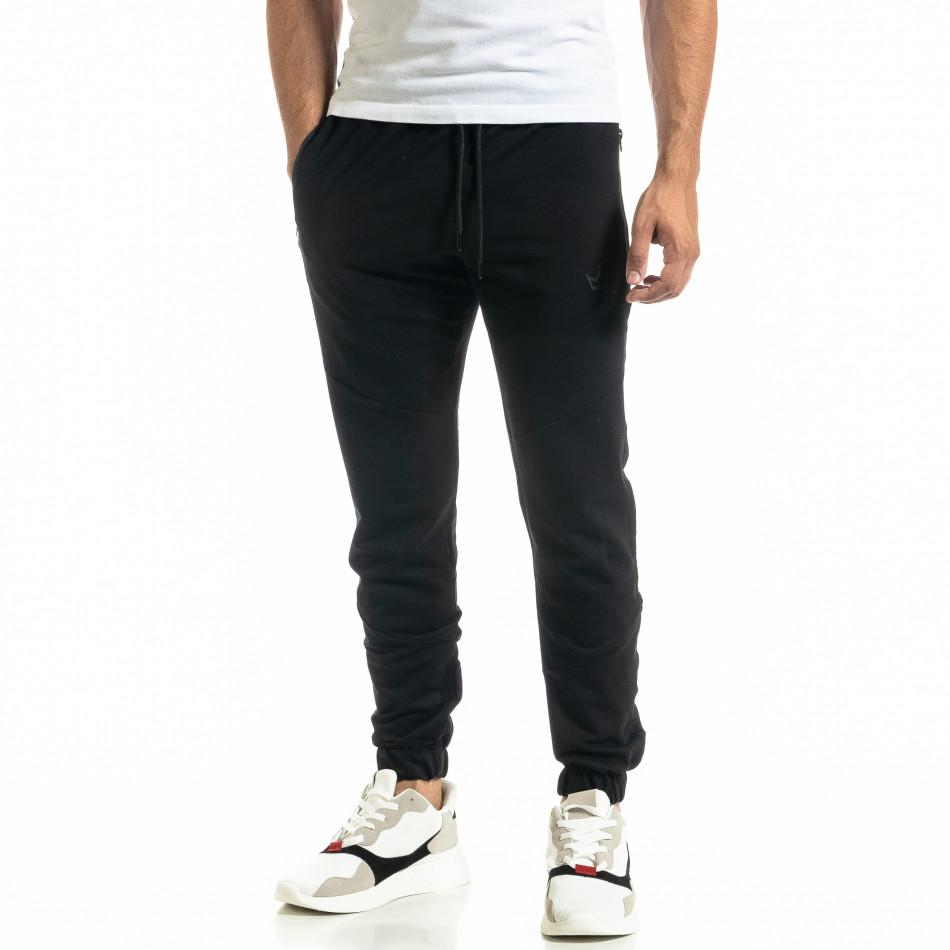 Мъжко черно долнище с ципове на джобовете tr020920-4