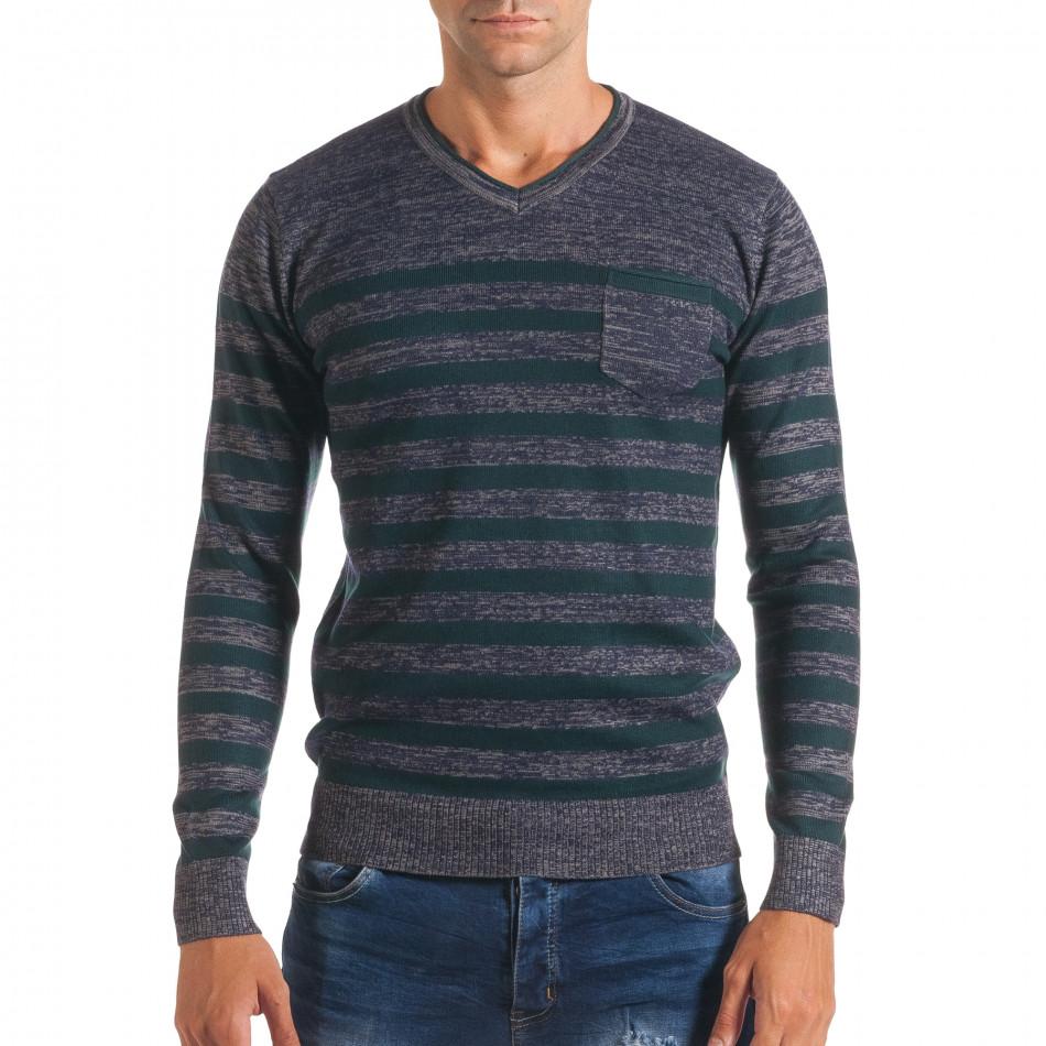 Мъжки синьо-сив пуловер със зелени райета it170816-36