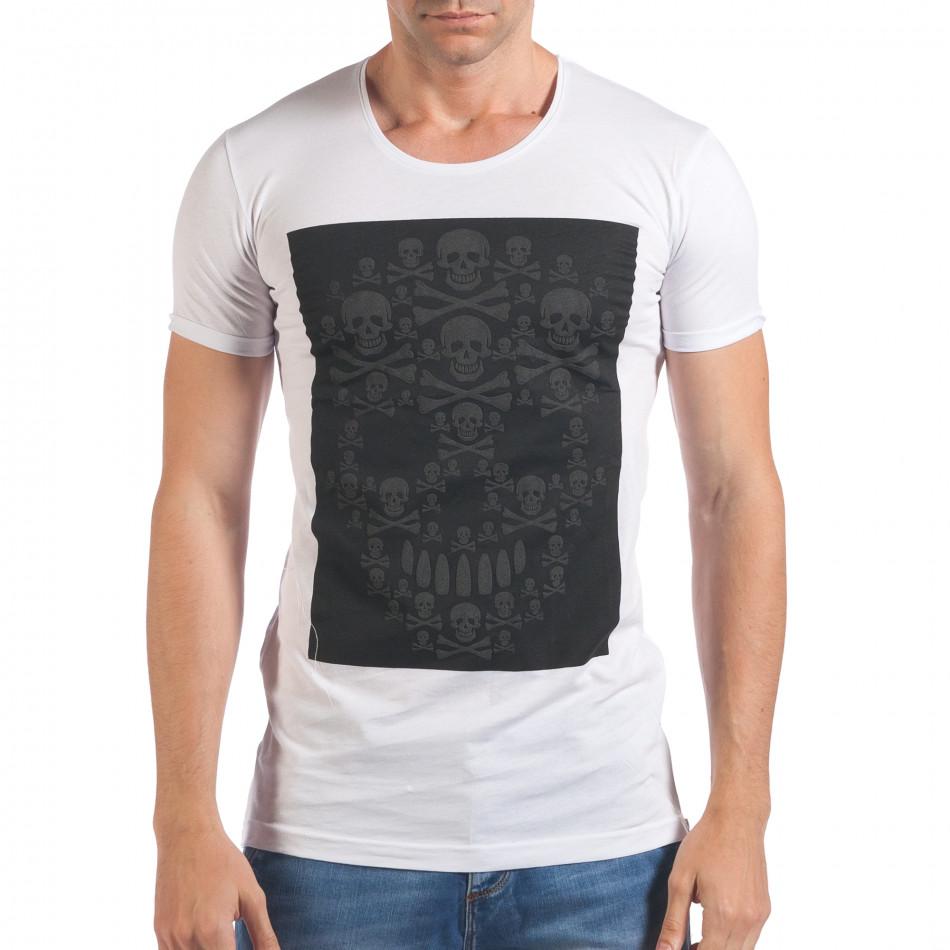 Мъжка бяла тениска с черепи отпред il060616-78