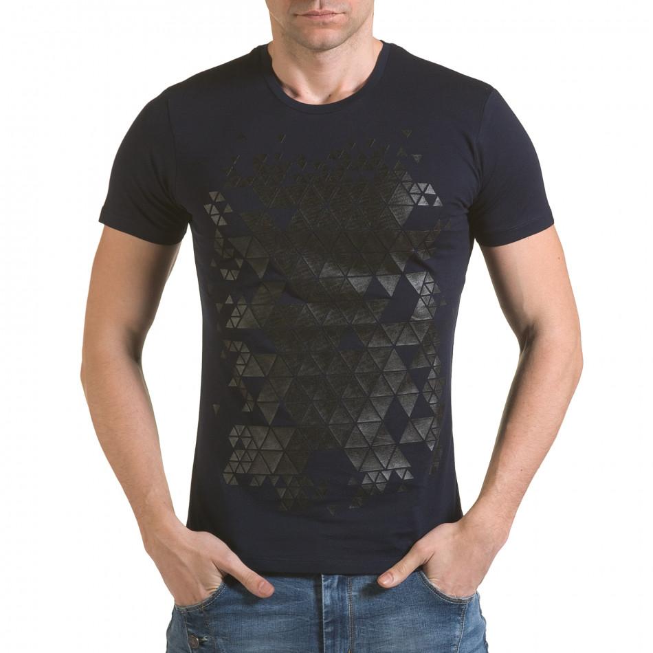 Мъжка синя тениска с фигуралнен принт il170216-55