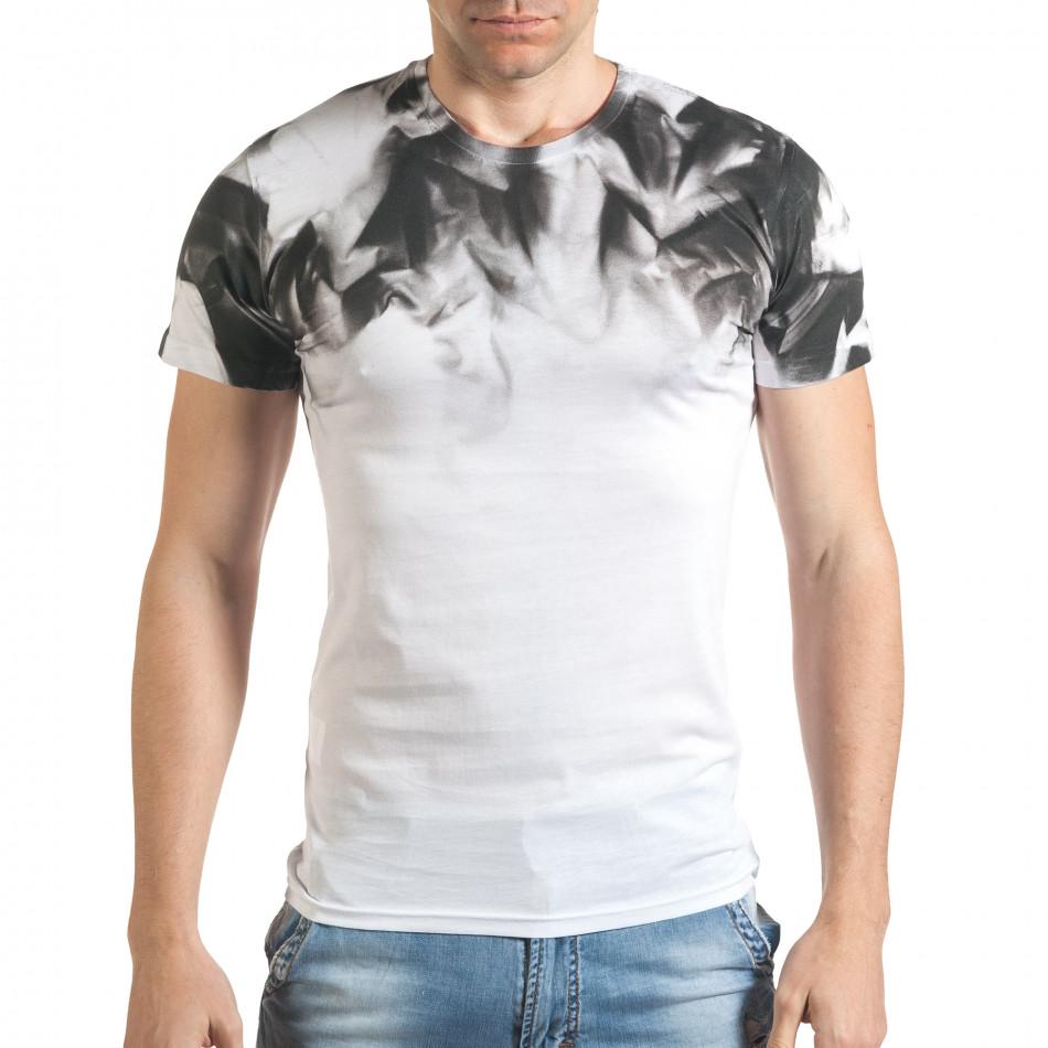Бяла мъжка тениска с принт на раменете tsf140416-73