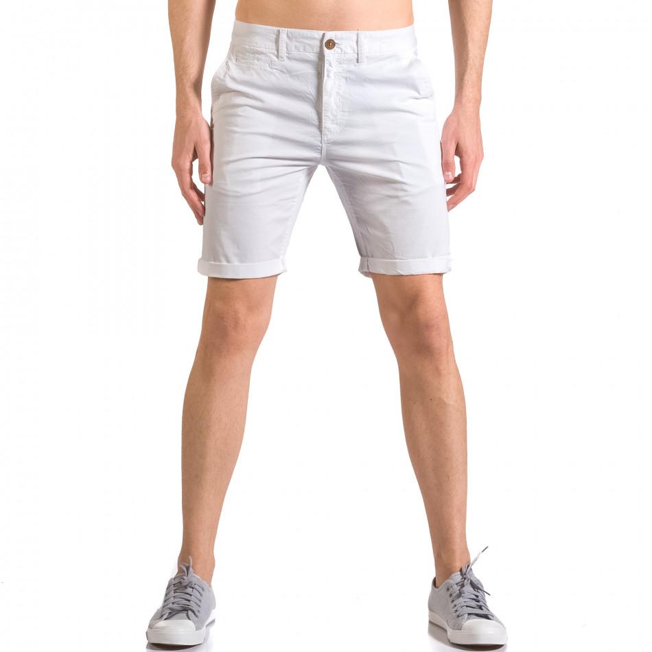 Бели мъжки къси панталони с италиански джобове ca050416-62