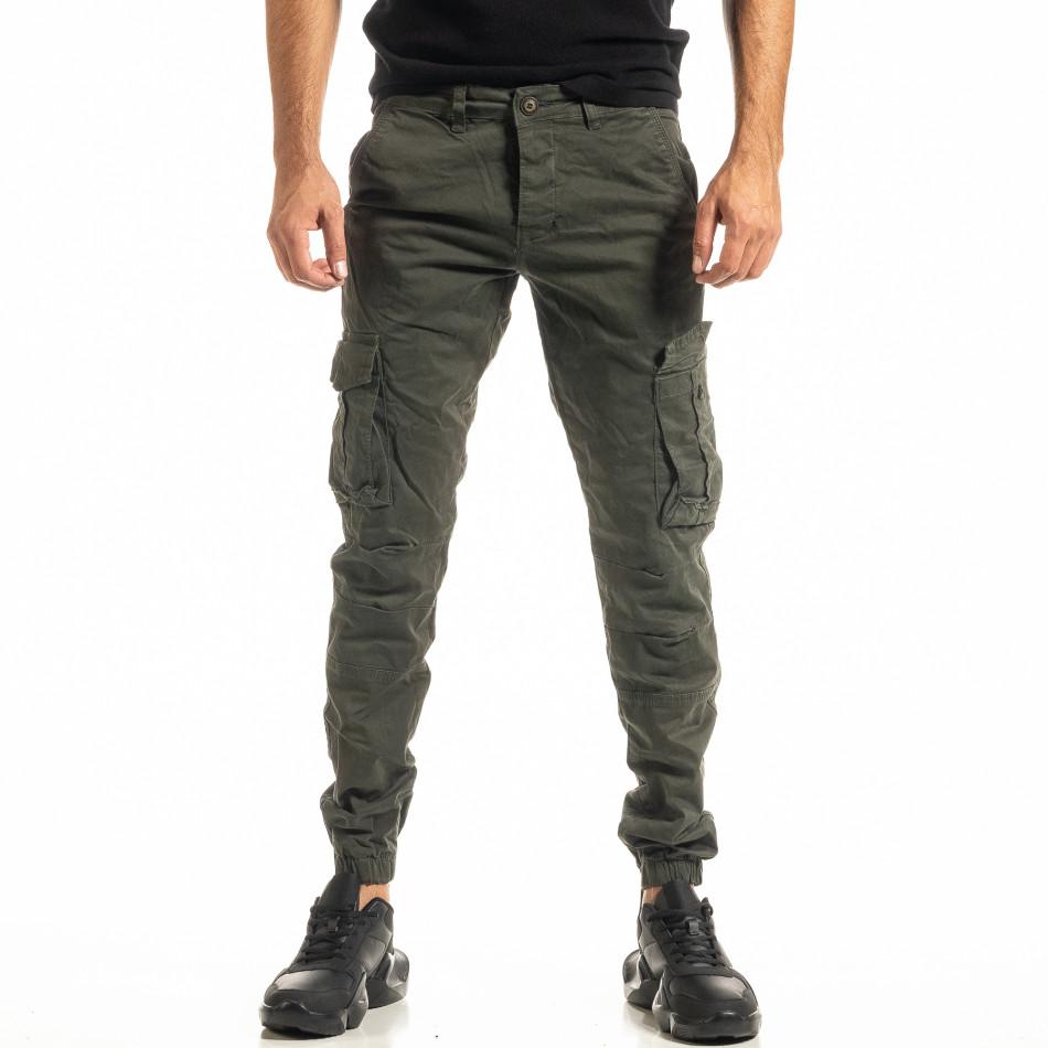 Мъжки зелен карго панталон с ластик на крачолите tr300920-4