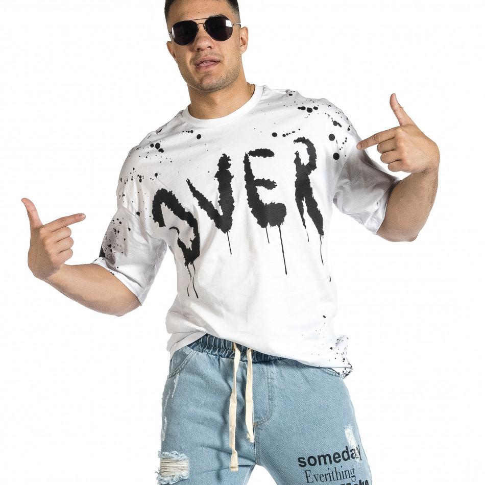 Мъжка бяла тениска с принт Oversize tr150521-9