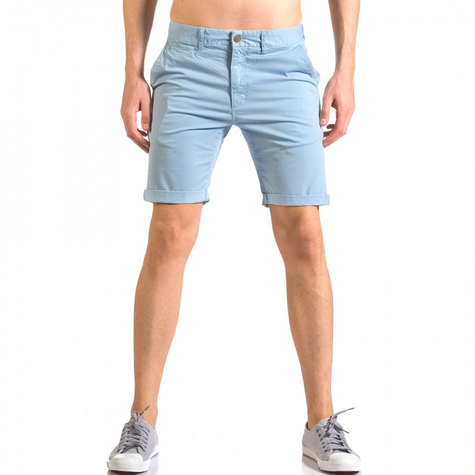 Мъжки сини къси панталони с италиански джобове ca050416-61