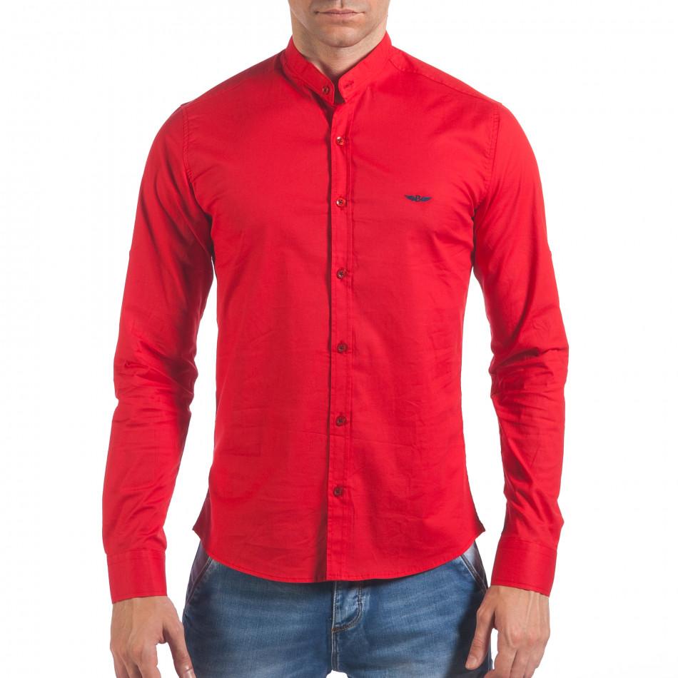 Мъжка червена риза с попска яка il060616-108