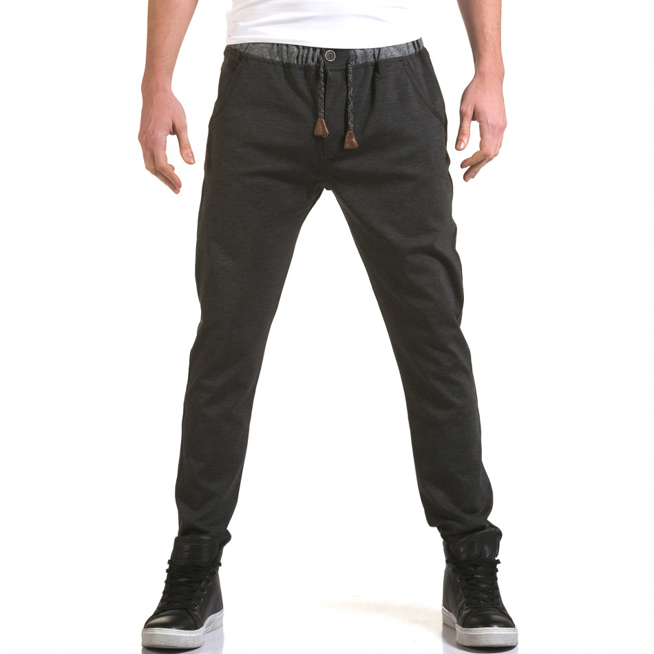 Мъжки тъмно сив панталон с контрастен ластик it090216-31