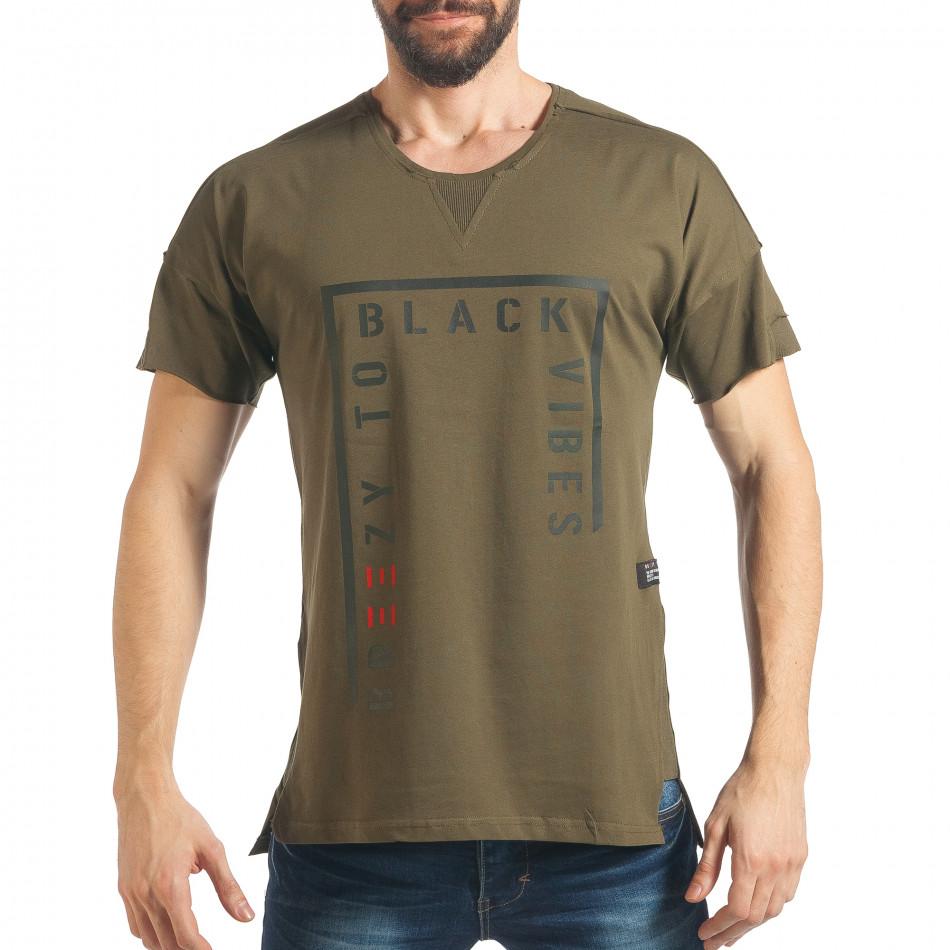 Мъжка зелена тениска с надпис и удължен гръб tsf020218-14