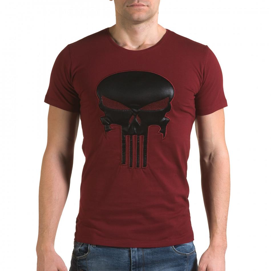 Мъжка червена тениска с череп отпред il120216-27