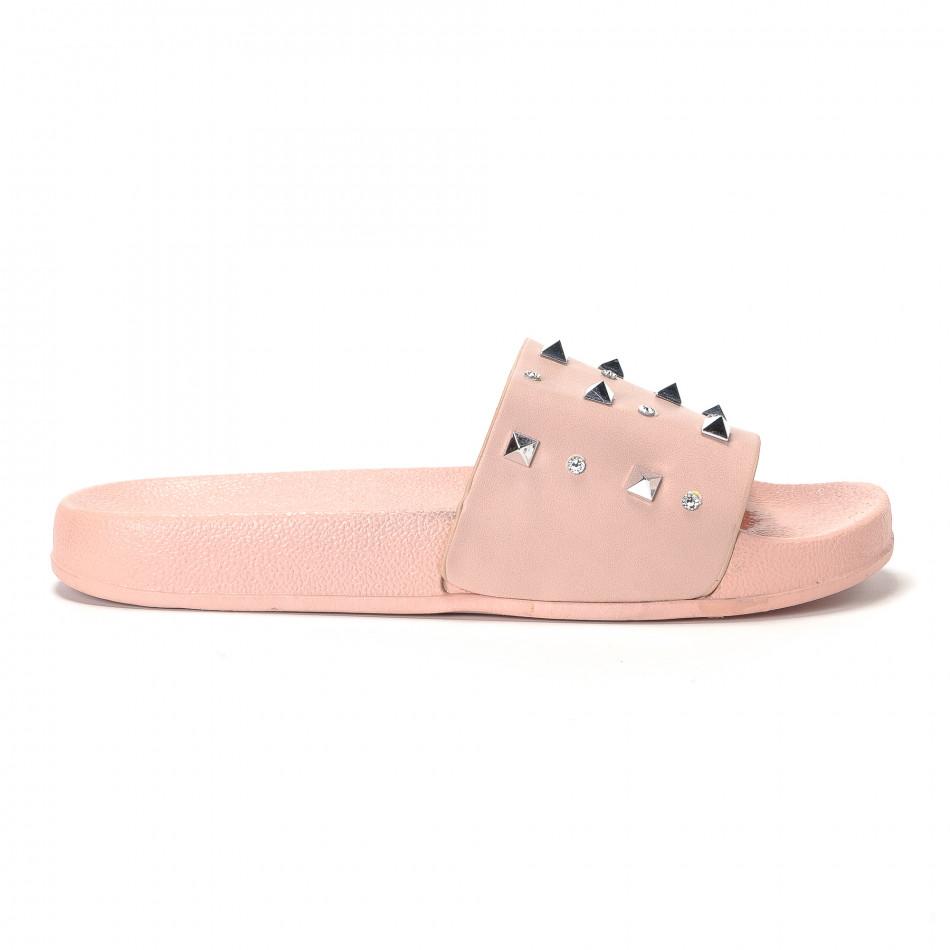 Дамски розови чехли с камъчета и пирамидени капси it230418-33