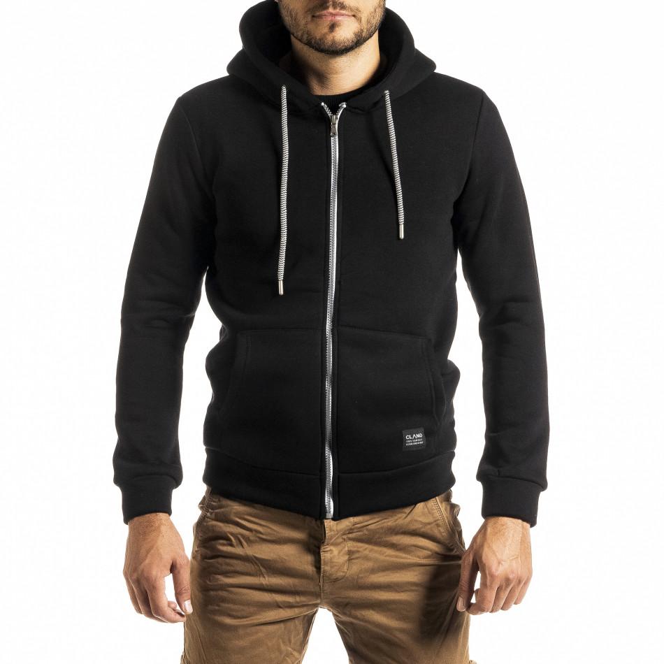 Плътен мъжки черен суичър с цип tr300920-27