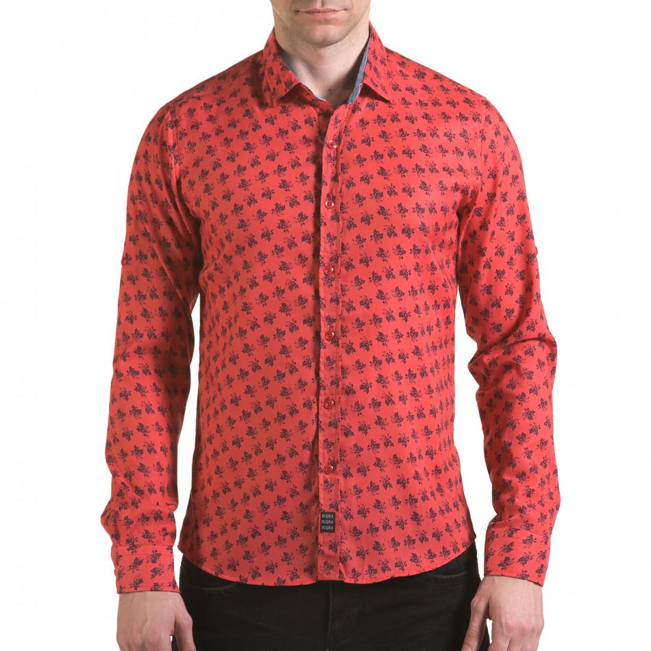Мъжка розова риза с флорален принт il170216-127