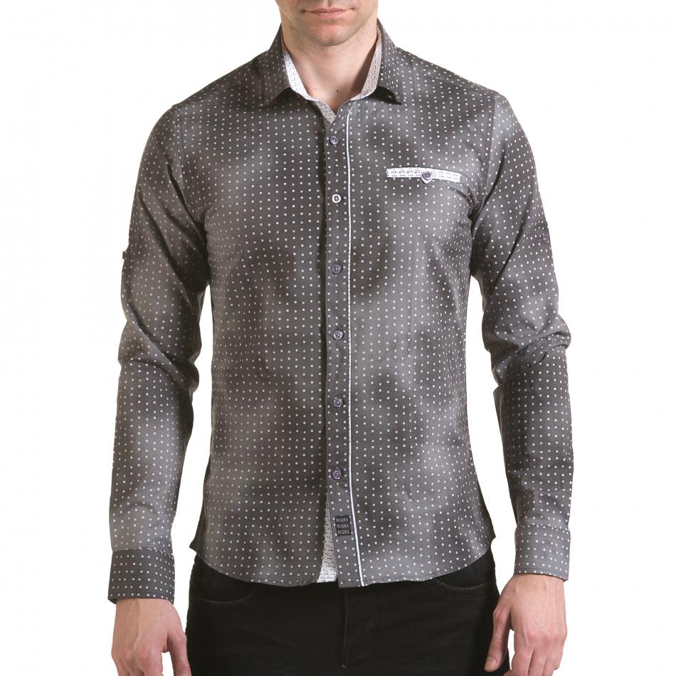 Мъжка сива риза с малки бели детайли il170216-104