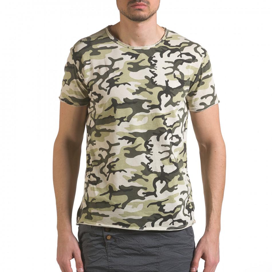 Мъжка тениска светло зелен камуфлаж it110316-93