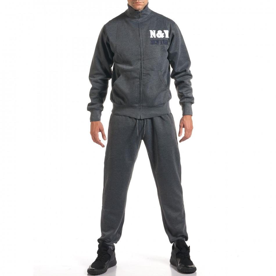 Мъжки тъмно сив спортен комплект с релефен надпис N&Y it160916-81