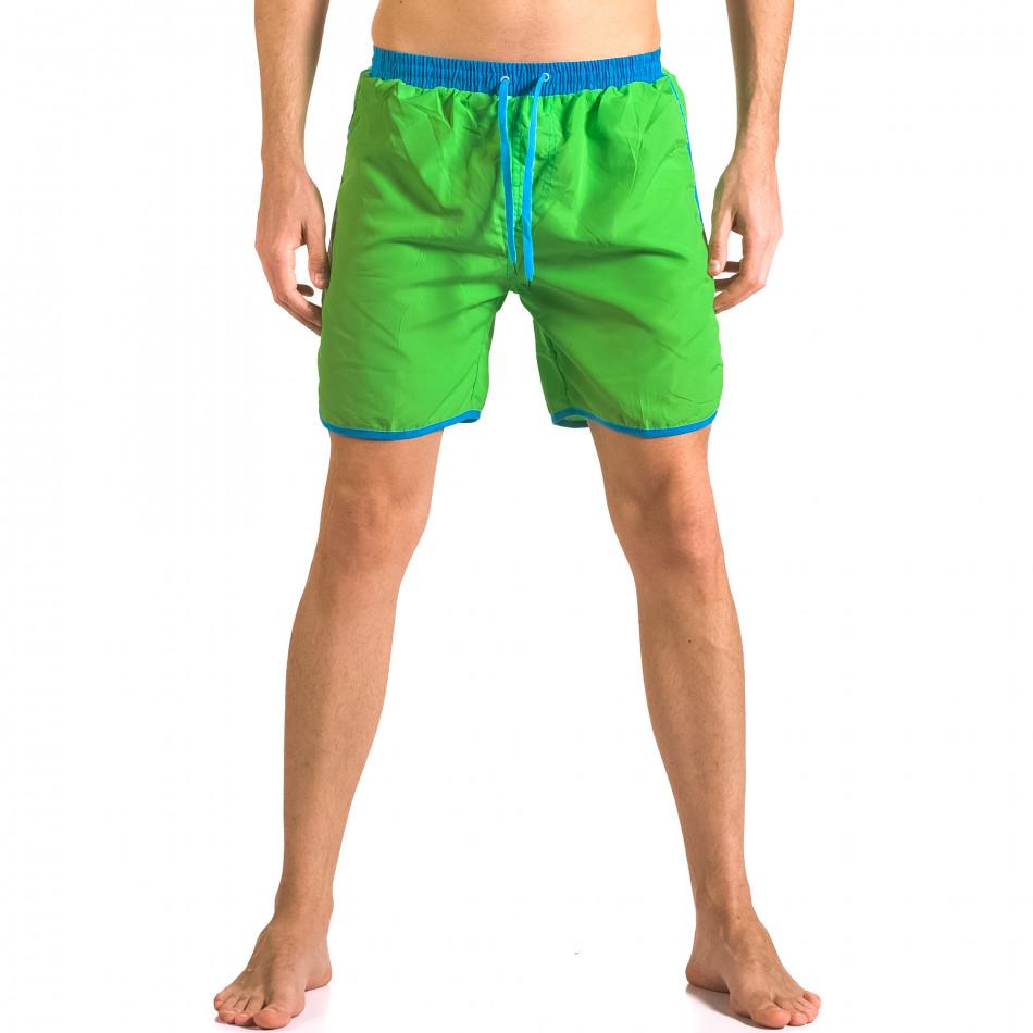 Зелен мъжки бански шорти с джобове и връзки ca050416-30