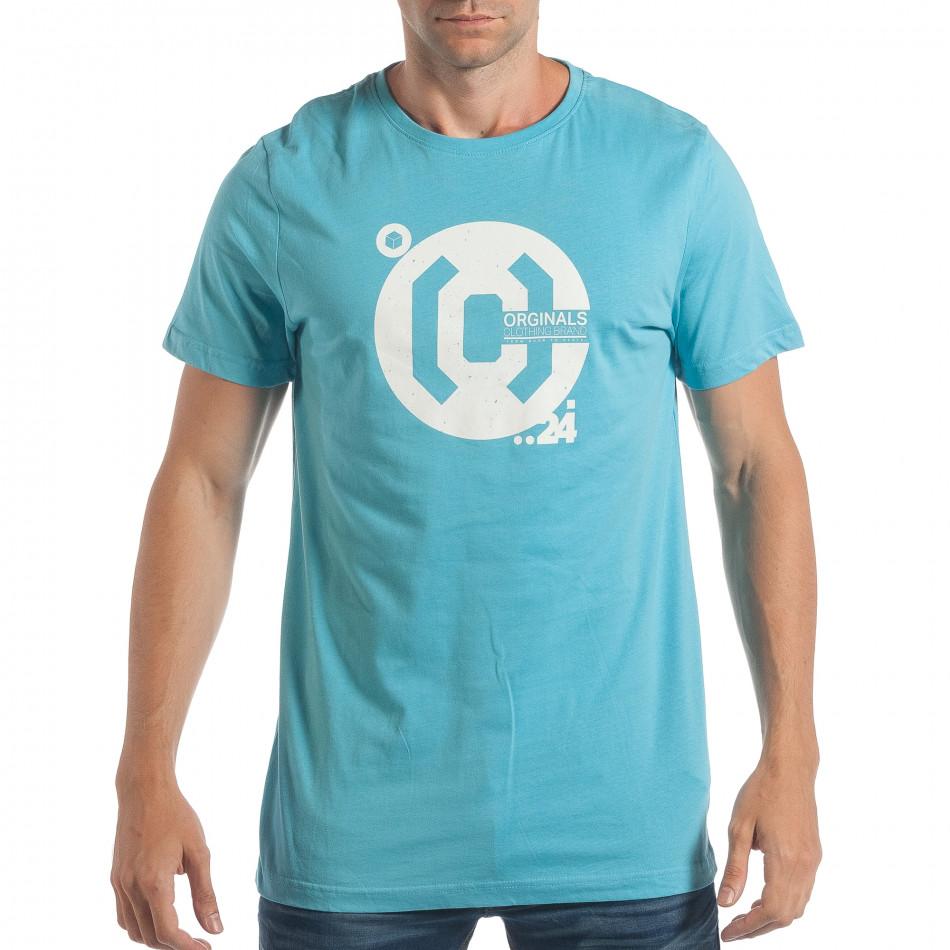 Мъжка синя тениска CROPP с бял принт lp180717-180