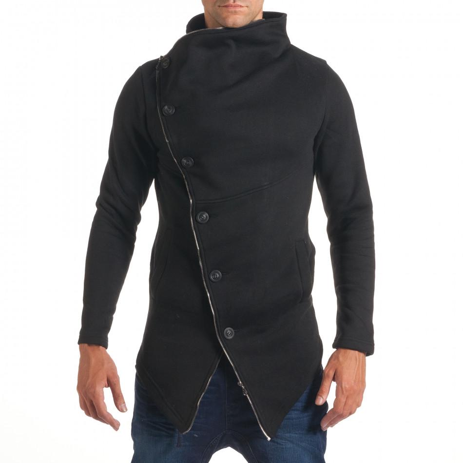 Мъжки черен удължен суичър с асиметрично закопчаване it240816-53