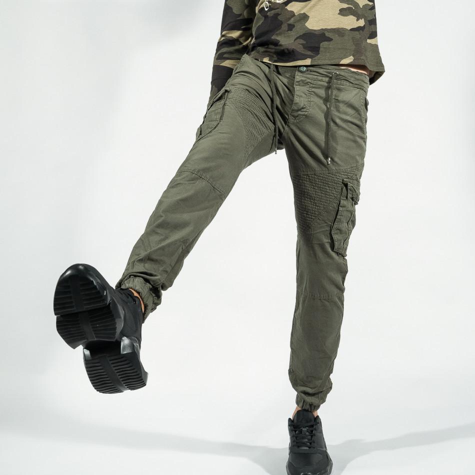 Зелен мъжки Cargo Jogger в рокерски стил tr170320-3