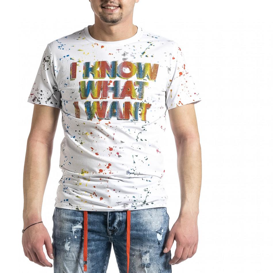 Мъжка бяла тениска с принт и кристали gr270221-53
