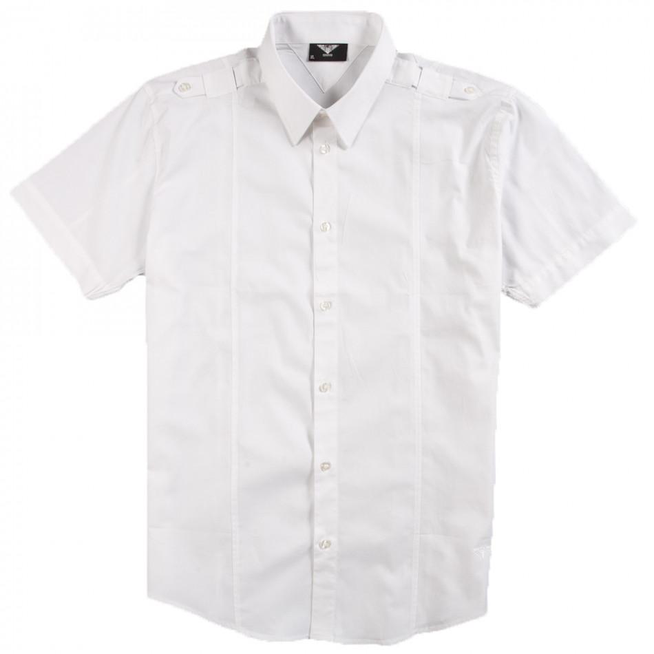 Бяла мъжка риза Gnious с къс ръкав и пагони 120213-2