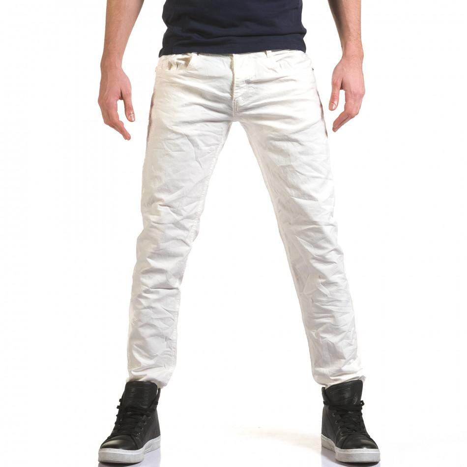 Мъжки бели дънки изчистен модел it090216-24