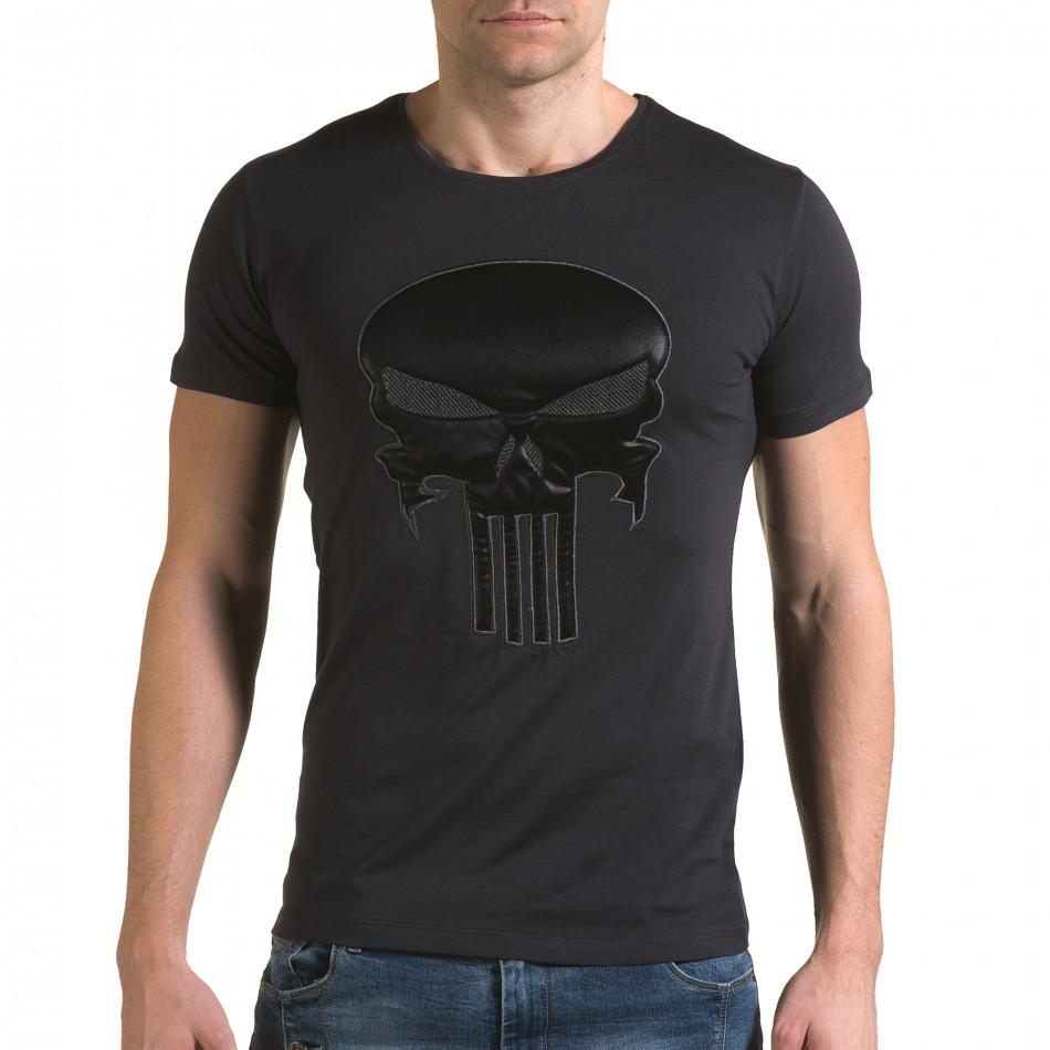 Мъжка сива тениска с череп отпред il120216-26