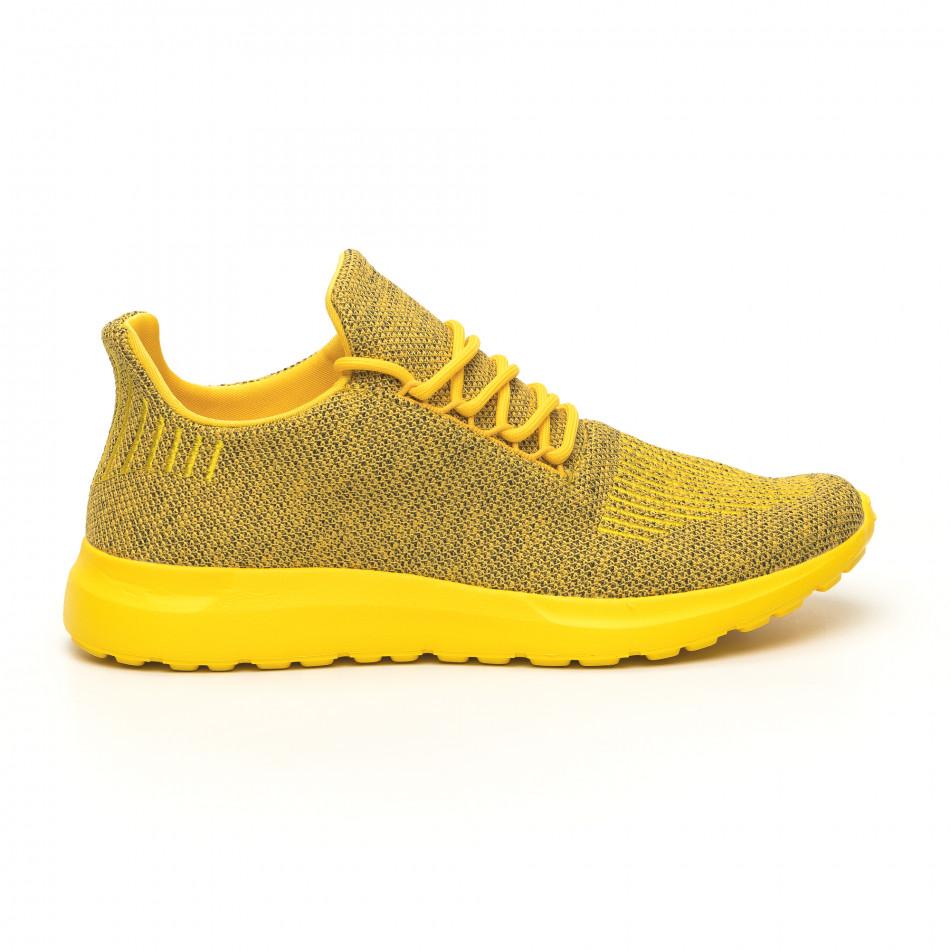 Мъжки маратонки жълт меланж с декорация it171019-2