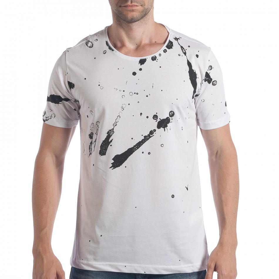 Мъжка бяла тениска с черен принт tsf090617-49