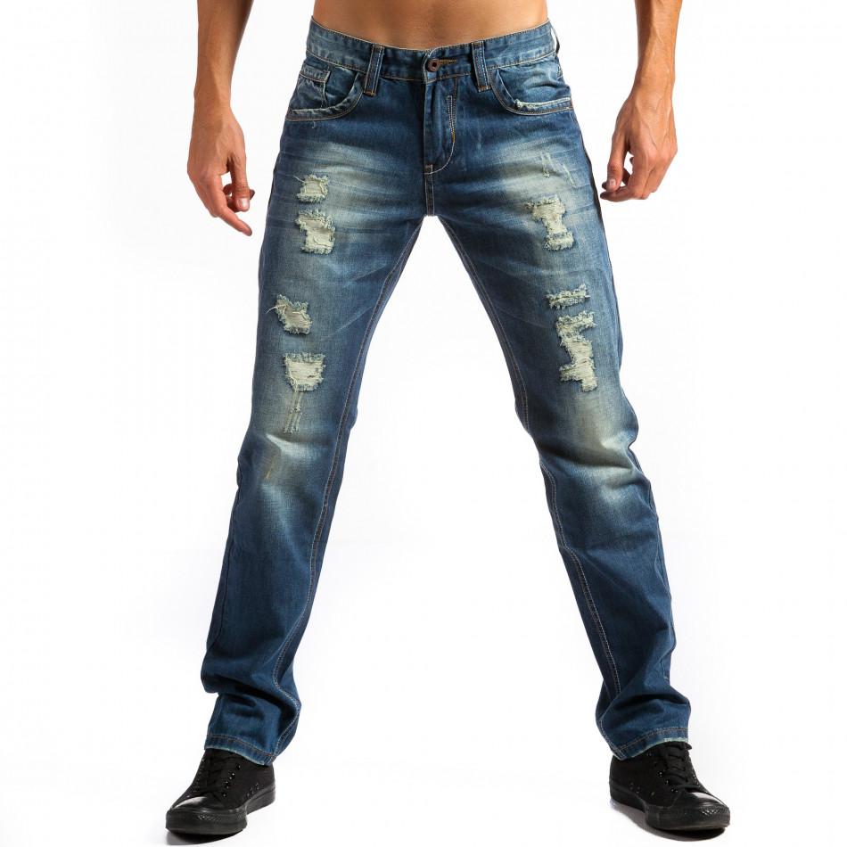 Мъжки дънки прав модел с декоративни скъсвания  ca171014-41