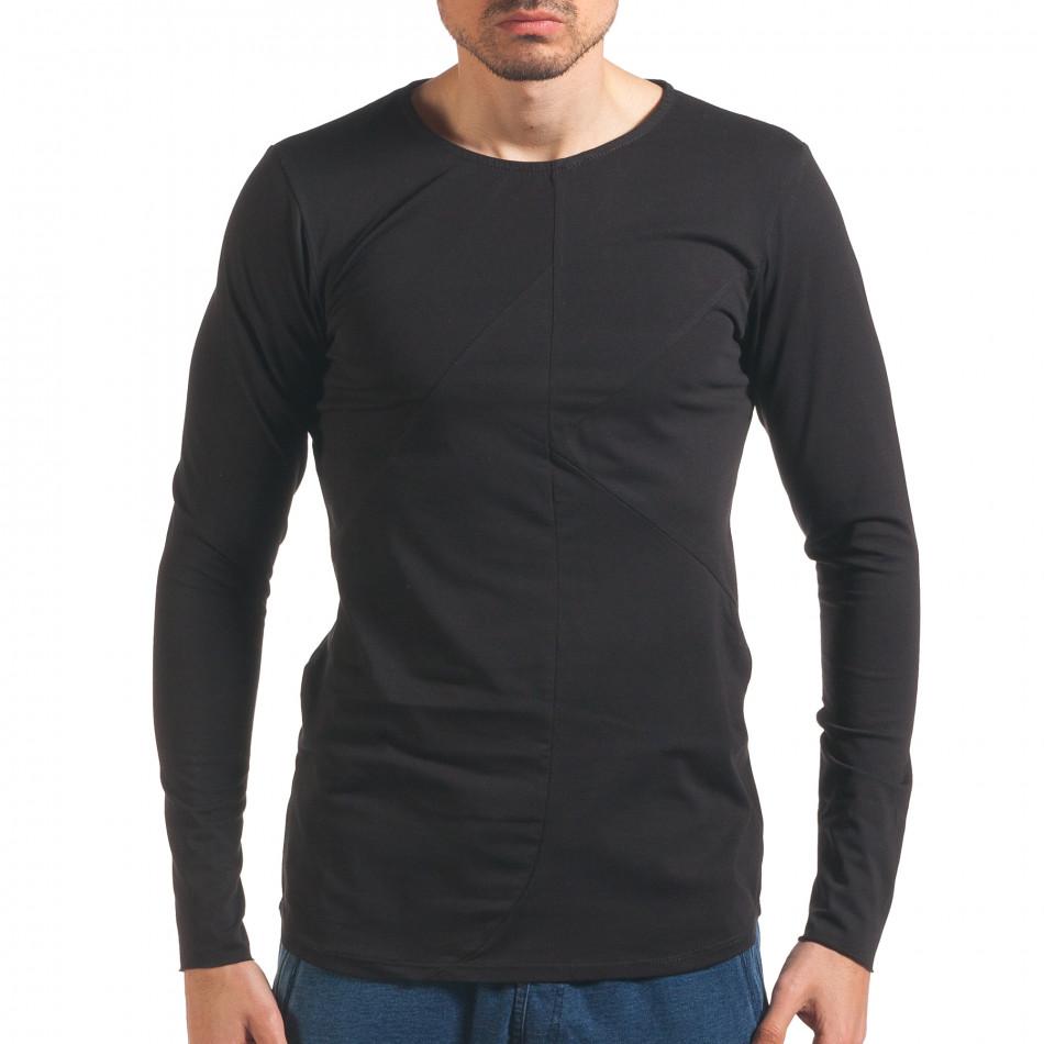Черна мъжка блуза с дълъг ръкав it250416-74