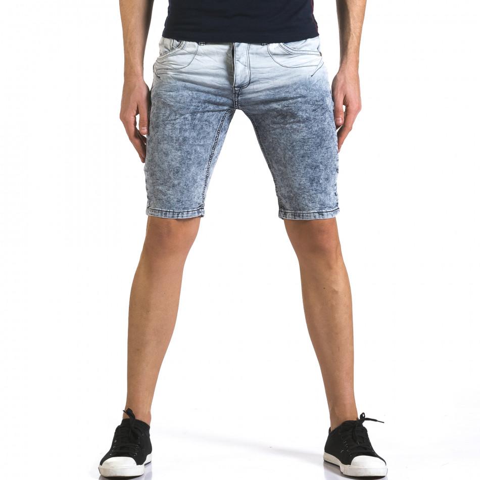 Мъжки светло сини къси дънки с преливащ цвят it110316-66