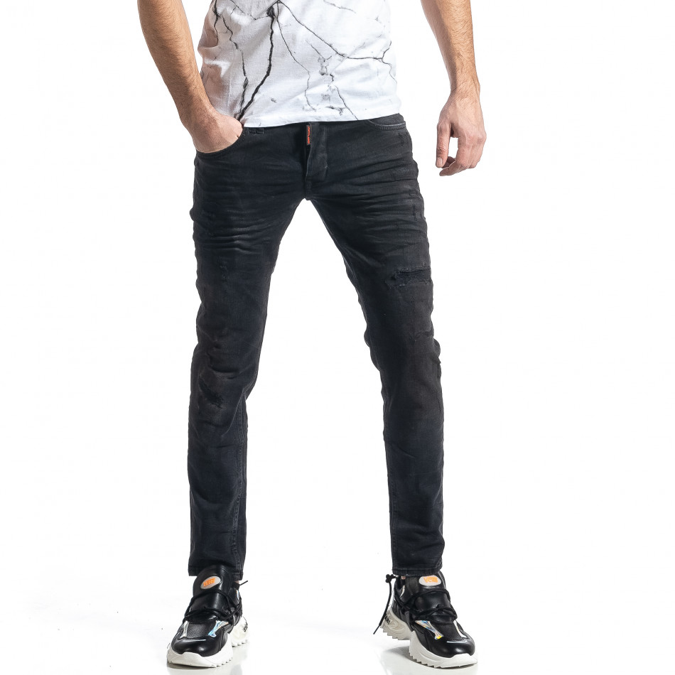 Мъжки черни дънки Destroyed tr010221-33