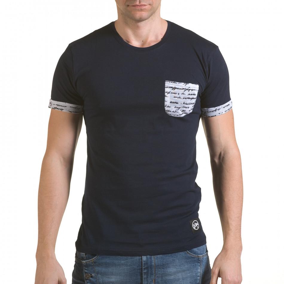 Мъжка синя тениска с джоб на гърдите il170216-49