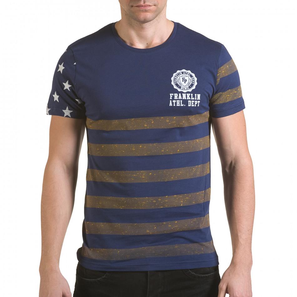 Мъжка синя тениска с жълти ленти il170216-10