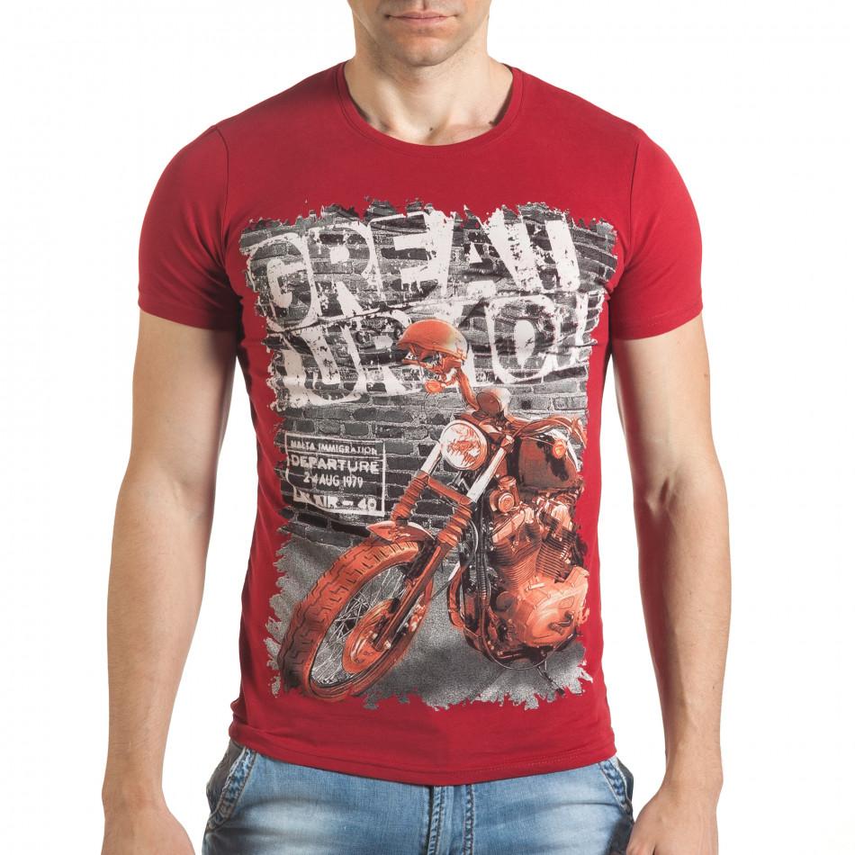 Мъжка червена тениска с рокерска щампа il140416-52