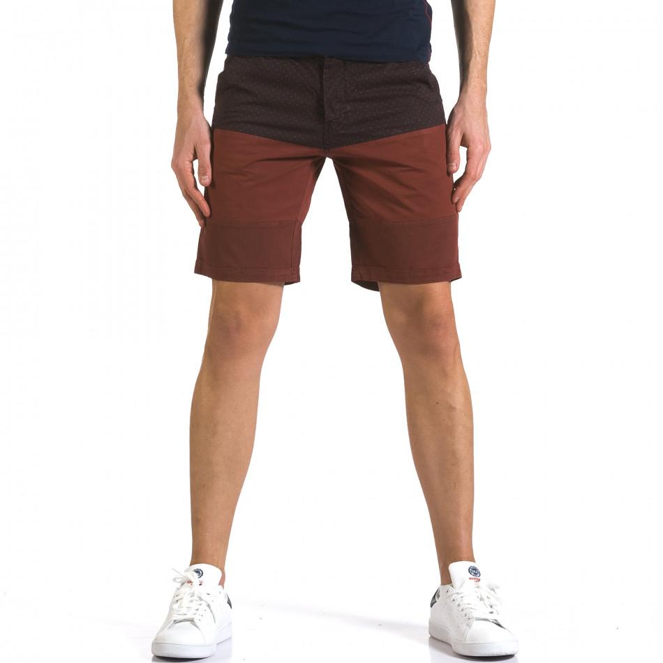 Мъжки червени къси панталони с лилава горна част it110316-54