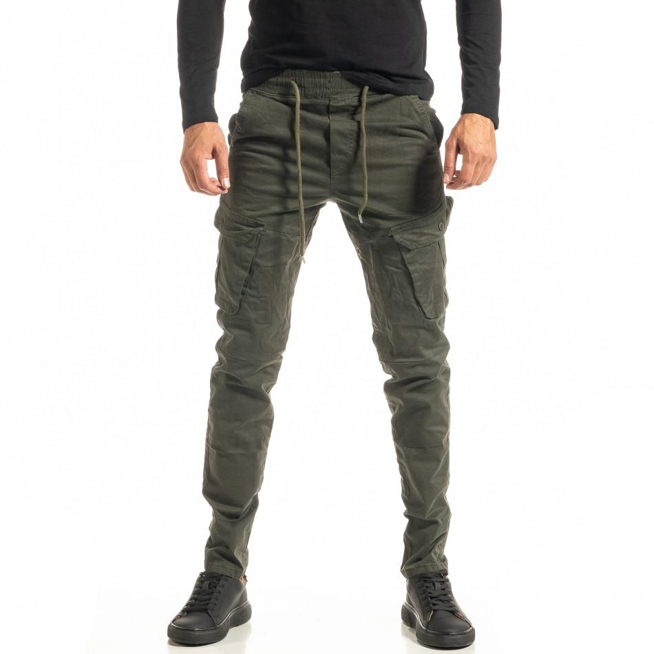 Мъжки зелен Cargo панталон с прави крачоли tr300920-8