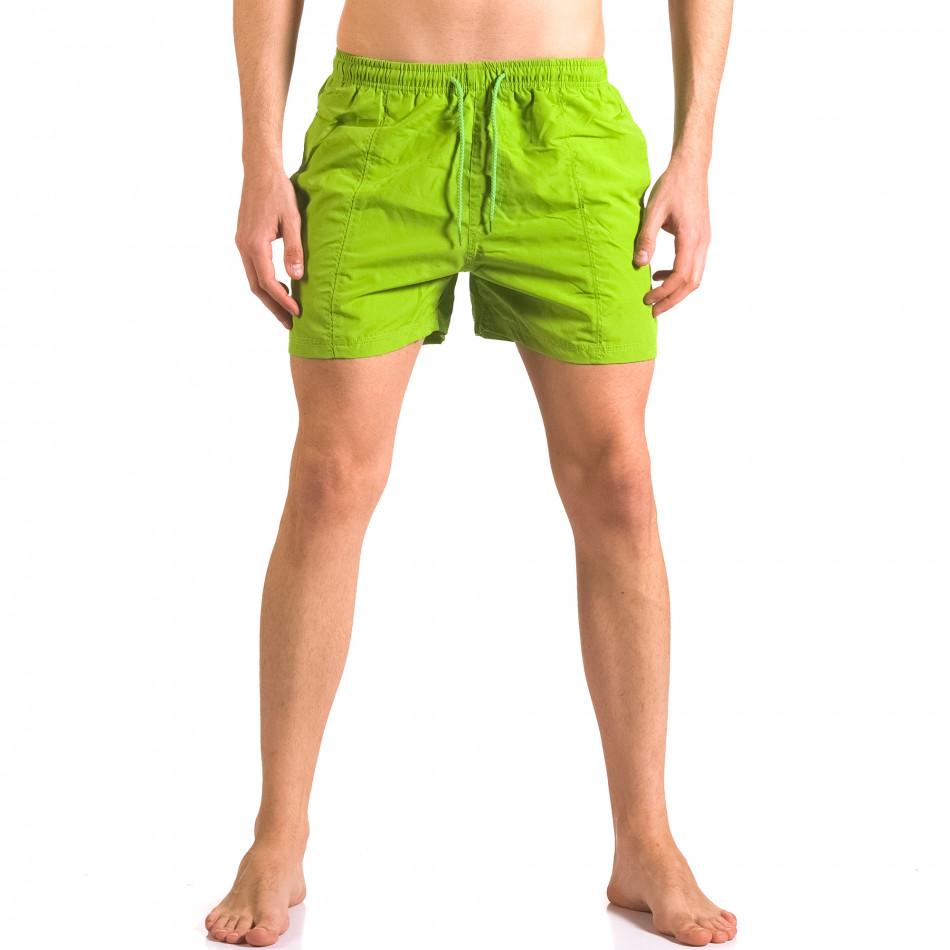 Мъжки зелени бански шорти с бандаж и джобове ca050416-15